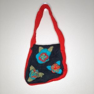 Anthro Rising Tide felted wool asymetrical purse